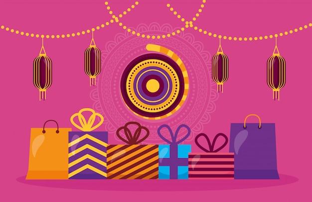 Feliz tarjeta de diwali con regalos y lámparas colgantes