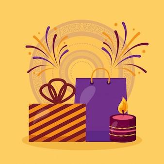 Feliz tarjeta de diwali con regalos y velas de celebración