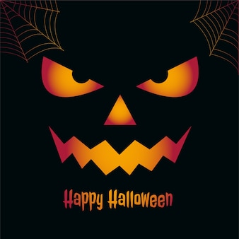 Feliz tarjeta espeluznante de halloween con cara de miedo