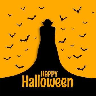 Feliz tarjeta espeluznante de miedo de halloween con mago y murciélagos