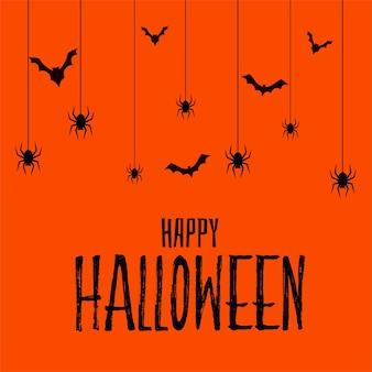 Feliz tarjeta espeluznante de miedo de halloween con murciélagos y araña