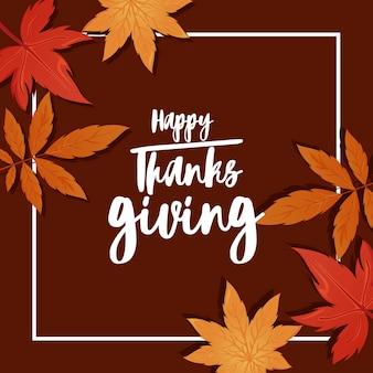 Feliz tarjeta de felicitación de acción de gracias y hojas de otoño