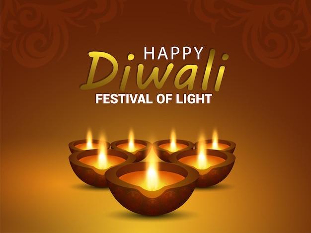 Feliz tarjeta de felicitación de celebración de diwali con ilustración de vector creativo de diya