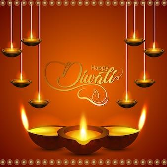 Feliz tarjeta de felicitación de celebración de diwali con tarro de monedas