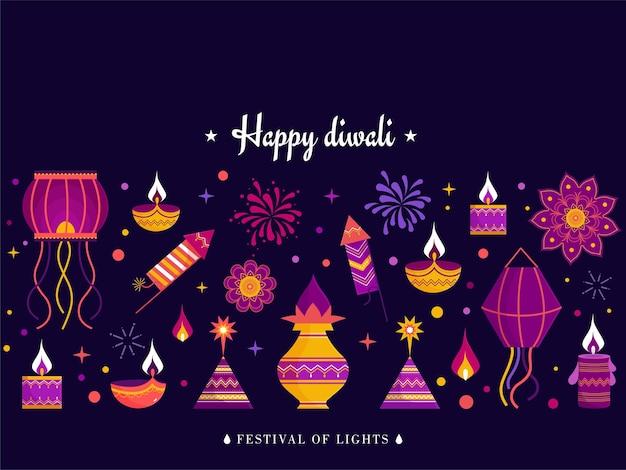 Feliz tarjeta de felicitación de celebración de diwali