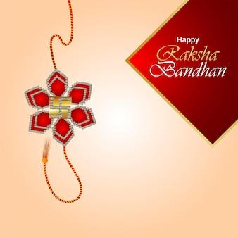 Feliz tarjeta de felicitación de celebración del festival indio raksha bandhan con rakhi realista