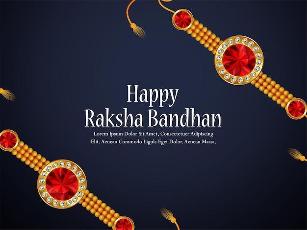 Feliz tarjeta de felicitación de celebración del festival raksha bandhan de la india con cristal y rakhi dorado