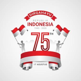 Feliz tarjeta de felicitación del día de la independencia de indonesia