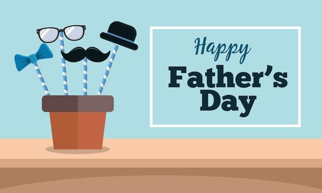 Feliz tarjeta de felicitación del día del padre con bigote, sombrero, gafas y corbata en diseño plano