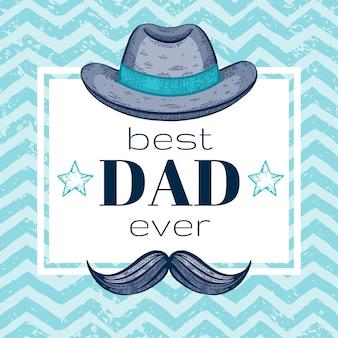 Feliz tarjeta de felicitación del día del padre con sombrero de fieltro retro y bigotes. boceto de estilo de dibujo.