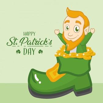 Feliz tarjeta de felicitación del día de san patricio, duende saliendo de una bota verde
