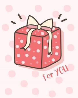 Feliz tarjeta de felicitación del día de san valentín con caja de regalo
