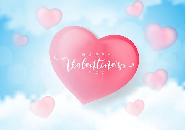 Feliz tarjeta de felicitación del día de san valentín con corazones 3d.