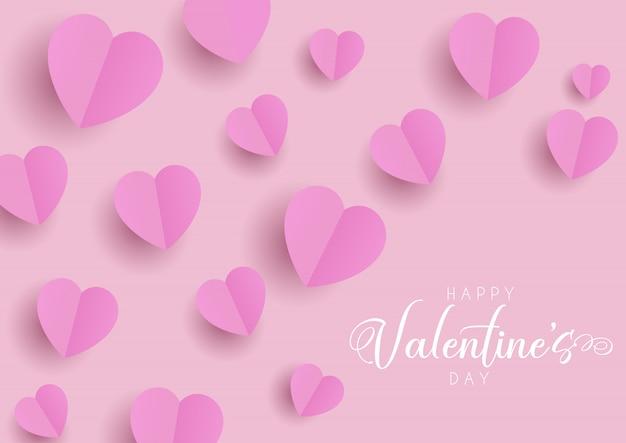 Feliz tarjeta de felicitación del día de san valentín con corazones doblados