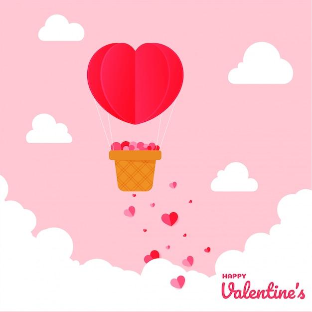 Feliz tarjeta de felicitación del día de san valentín con globo de aire caliente