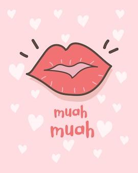 Feliz tarjeta de felicitación del día de san valentín con lápiz labial besos