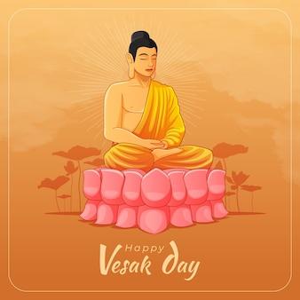 Feliz tarjeta de felicitación del día de vesak con buda meditando