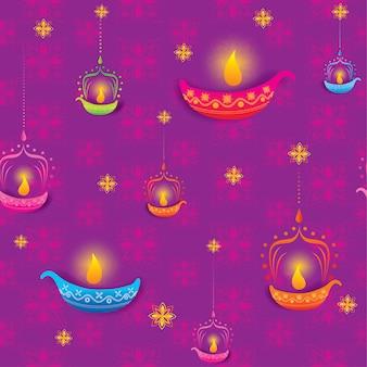 Feliz tarjeta de felicitación de diwali púrpura para patrones sin fisuras
