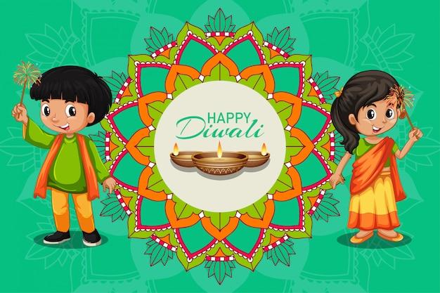 Feliz tarjeta de felicitación de diwali