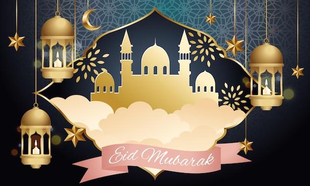 Feliz tarjeta de felicitación de eid mubarak decorada con estrellas y linterna dorada.
