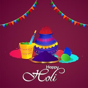 Feliz tarjeta de felicitación del festival indio holi con olla de barro en polvo y placa de color con globo