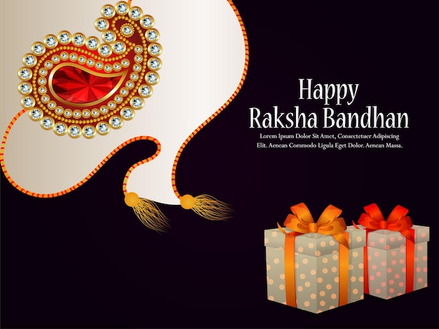 Feliz tarjeta de felicitación del festival indio raksha bandhan con regalos creativos y rakhi