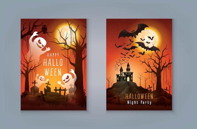 Feliz tarjeta de felicitación de fiesta de noche de halloween, fantasma con cementerio y castillo. spooky con tumba y jungla.