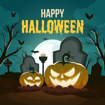 Feliz tarjeta de felicitación de halloween con cabeza de calabaza aterradora en el cementerio