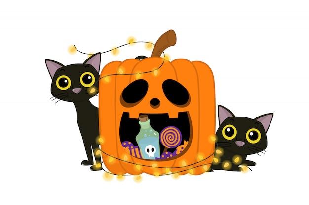 Feliz tarjeta de felicitación de halloween con calabaza y gato.
