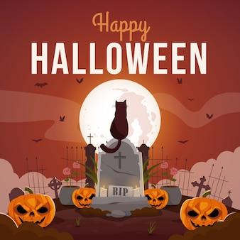 Feliz tarjeta de felicitación de halloween con calabazas aterradoras y gato sentado en la lápida