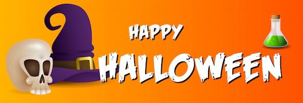 Feliz tarjeta de felicitación de halloween con calavera, poción y sombrero