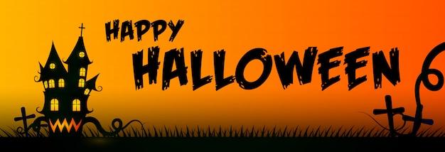 Feliz tarjeta de felicitación de halloween con casa y cementerio