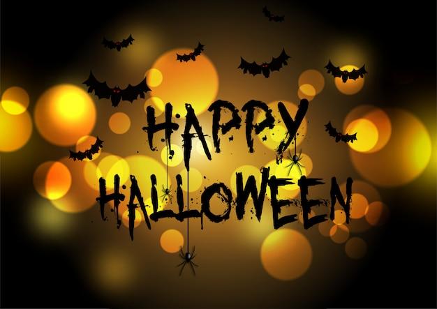 Feliz tarjeta de felicitación de halloween con diseño de luces bokeh