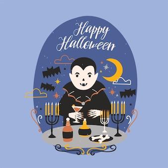 Feliz tarjeta de felicitación de halloween con divertido drácula sonriente o vampiro de pie en la mesa con velas en candelabros y sosteniendo una copa de vino con sangre