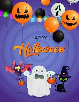 Feliz tarjeta de felicitación de halloween con fantasma, murciélago con dulces y gato negro