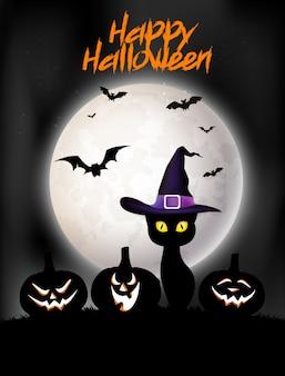 Feliz tarjeta de felicitación de halloween con gato negro, sombrero y calabazas