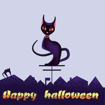 Feliz tarjeta de felicitación de halloween con gato negro