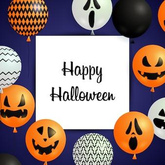 Feliz tarjeta de felicitación de halloween con globos festivos