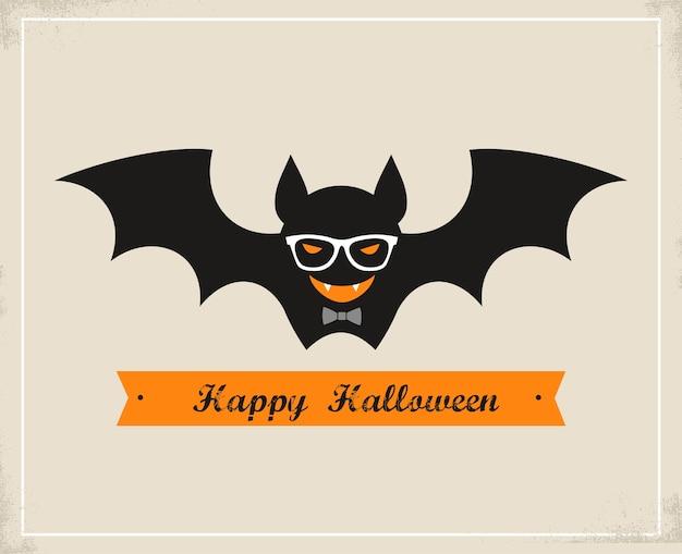 Feliz tarjeta de felicitación de halloween hipster