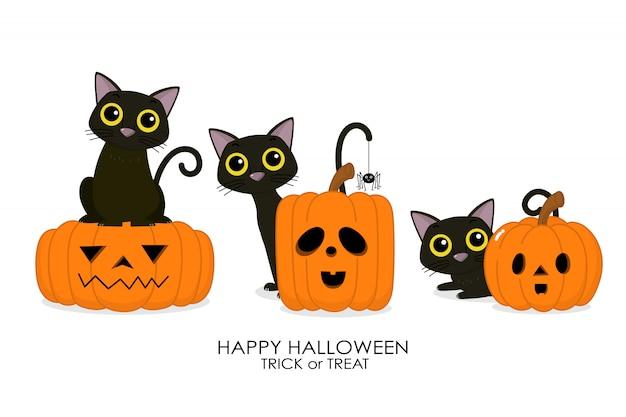 Feliz tarjeta de felicitación de halloween con lindo gato negro y calabaza espeluznante.
