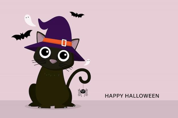 Feliz tarjeta de felicitación de halloween con lindo gato negro con sombrero de bruja y fantasma aterrador