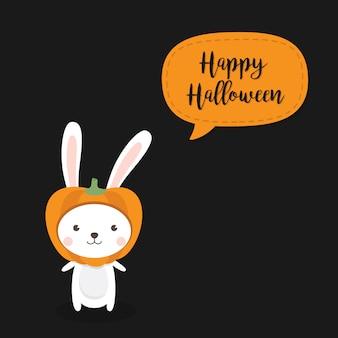 Feliz tarjeta de felicitación de halloween con un lindo gato con sombrero de calabaza.