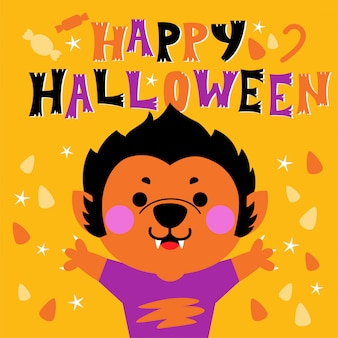 Feliz tarjeta de felicitación de halloween con lindo personaje de hombre lobo