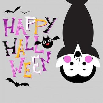 Feliz tarjeta de felicitación de halloween con lindo personaje vampiro