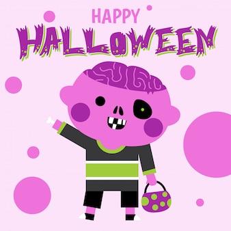 Feliz tarjeta de felicitación de halloween con lindo personaje zombie