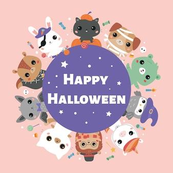 Feliz tarjeta de felicitación de halloween con lindos animales kawaii en diferentes disfraces