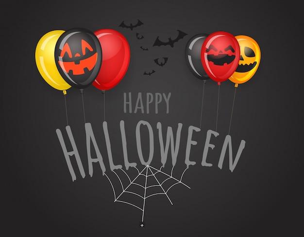 Feliz tarjeta de felicitación de halloween con logo