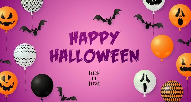 Feliz tarjeta de felicitación de halloween con murciélagos y globos