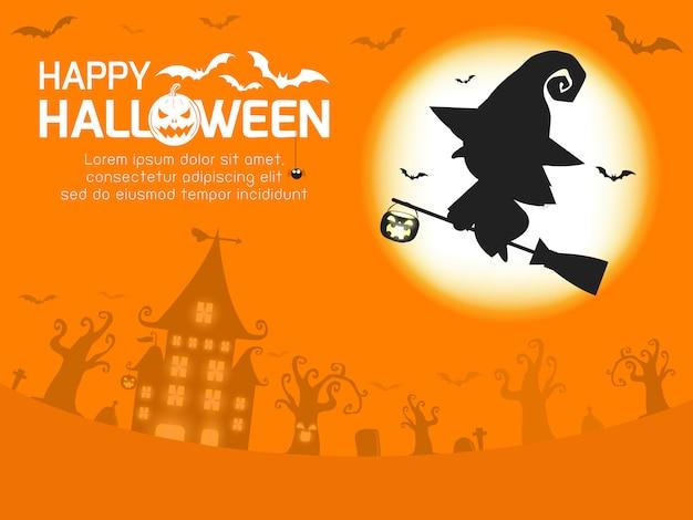 Feliz tarjeta de felicitación de halloween silueta de bruja en la luna