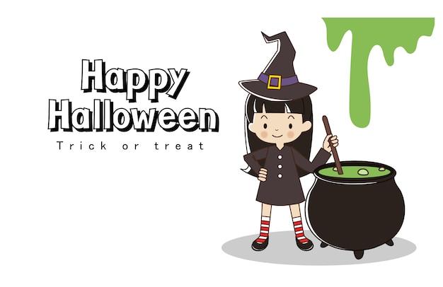 Feliz tarjeta de felicitación de halloween truco o trato. niña en traje de bruja con olla de bruja.